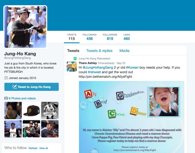 MLB baseball player 백 정 호 (Jung-ho Park) supportsAlly!